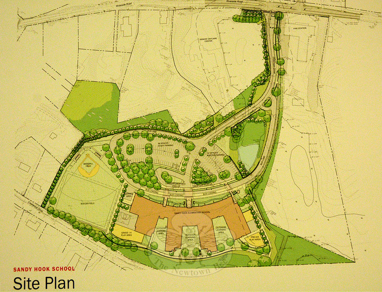 This plan depicting the site layout of the proposed new Sandy Hook Elementary School was projected onto a screen during a July 31 Planning and Zoning Commission public hearing. Richter & Cegan of Avon produced the map. Riverside Road runs horizontally across the top of the map. (Gorosko photo)