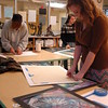Newtown High School Art Portfolio students, Helena Reznikoff, right, Michael Triantafilidis, back left, and Haley Kean, back right, worked recently on the finishing touches of their art that will be displayed at C.H. Booth Library from Saturday, December 13, to Friday, December 19. (Hallabeck photo)