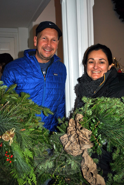 Frank and Linda Burhance are pleased with the attractive wreaths that will decorate their borough home this holiday season. (Crevier photo)