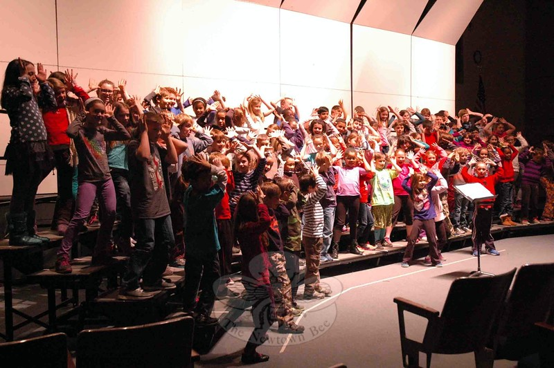 "Sandy Hook School fourth grade students rehearsed performing ""Reindeer Boogie"" during the day on Thursday, December 4, for their Winter Concert, which was held that evening. (Hallabeck photo)"