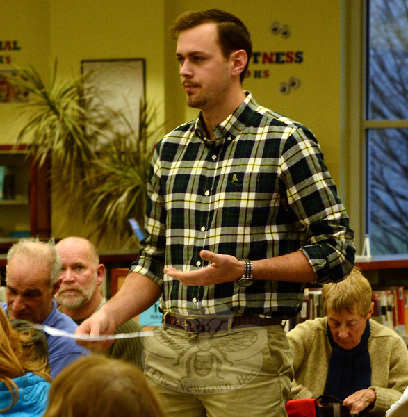 Ryan Knapp, who is a Legislative Council member, discusses proposed zoning rule changes which would allow rental apartments at Fairfield Hills. (Gorosko photo)
