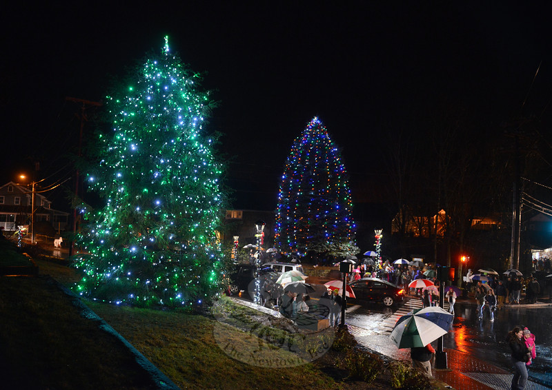 For the second year in a row, a tree decorated with green and white lights, left, also brightens Sandy Hook Center. The tree, which was planted last year, faces the intersection from the lawn at 2 Riverside Road. Across the street on The Glen property is the tree traditionally lit with rainbow colors each season. (Bobowick photo)