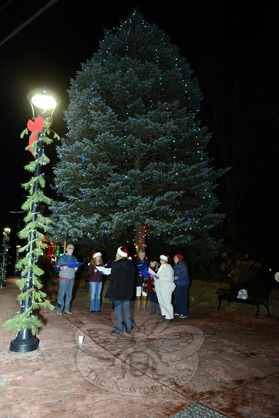 A group of carolers stood under the light tree in The Glen in Sandy Hook on December 12, where they offered a Night Of Song. Enjoying the  warm 50-degree weather were Richard Teasdale, Tamara McMahon, Paul Murphy, Pauli Toi, Linda Gaboardi, Beverly Dakin, and Sandy Wrobel. Leading the group in song was Cindy Miller, found of Trinity Productions, which organized the event. (Bobowick photo)
