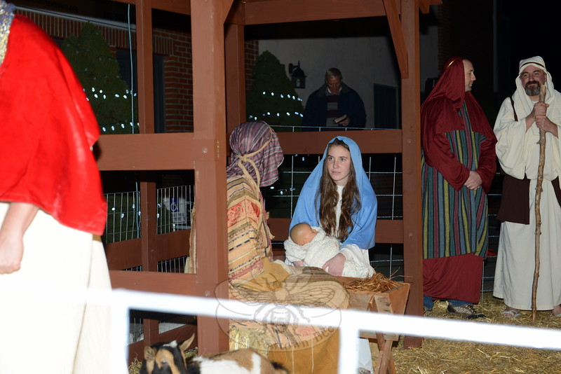 The Faith at Newtown Church in Sandy Hook Center staged a living nativity for the first time this year during the tree lighting event on December 5. Mary (Grace Larsen) and Joseph (Tim Vanderhave) welcomed guests to see their newborn as a narrator told the story of birth in the manger. (Bobowick photo)