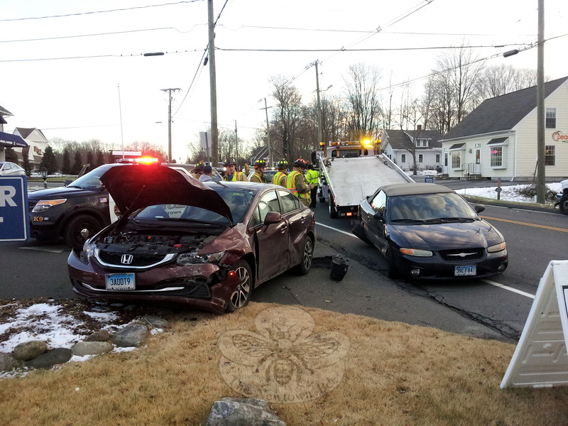 At about 3:25 pm on December 12, a three-vehicle accident occurred near 43 South Main Street. The accident involved a 2013 Honda Civic sedan driven by Christine Madden, 52, of 58 Butterfield Road, a 1999 Chrysler Sebring convertible driven by Carlos Lopez, no age given, of Danbury, and a 1997 Ford pickup truck driven by William Rodriguez, 40, of Naugatuck, police said. Lopez was transported to Danbury Hospital by the Newtown Volunteer Ambulance Corps for treatment of injuries, police said. Rodriguez received an infraction for failure to drive a reasonable distance apart, according to police. (Voket photo)