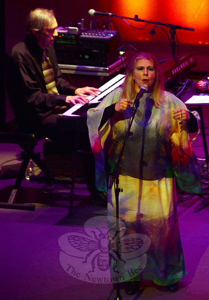 In the first of two Connecticut shows celebrating their new album Symphony of Light, band leader Annie Haslam (pictured with music director Rave Tesar) donned a gown replicating the album cover art she created, thrilling both Ridgefield Playhouse and Hartford Infinity Hall audiences with her four octave soprano and the group's rich, meticulous musical storytelling. (Voket photo)