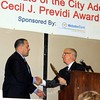 Todd Ingersoll of Newtown, president of Ingersoll Automotive, accepts the Cecil J. Previdi Award from Danbury's Mayor Mark Boughton. (Sherri Smith Baggett)