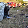 State police report that motorist Raymond Bagley, 44, of Ansonia was driving a 2008 Pontiac Torrent SUV on westbound Interstate 84's Exit 11 on-ramp at about 1:36 pm on November 29, when the vehicle went off the left side of the road, struck an embankment, and then rolled over. The Newtown Volunteer Ambulance Corps transported Bagley to Danbury Hospital for treatment of injuries, state police said. Sandy Hook Volunteer Fire & Rescue firefighters responded to the incident. State police said they issued three vehicular violations to Bagley. (Hicks photo)