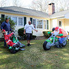Dave Cicchesi purposely waited for the day after Thanksgiving to set up a display of inflatable Christmas decorations on the front lawn of his Key Rock Road home. Mr Cicchesi unraveled the deflated cast of characters as his friend Norm Laneuville added his advice, encouragement, and help. While many others were out trying to take advantage of Black Friday deals on November 27, the two men, both drivers for All-Star Transportation in Newtown, were enjoying the warm temperatures on their holiday. They had already succeeded in getting a motorcycle-riding Santa and a penguin into place. Several more inflatables were added before the men were done. Mr Cicchesi expected the display would be enjoyed by his son, as well as plenty of passersby on the busy road he lives on. (Hicks photo)