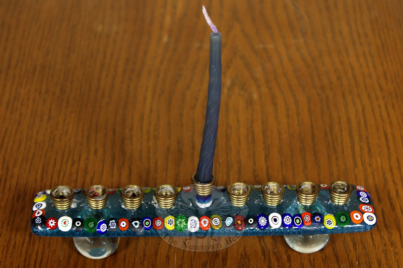 This menorah, or chanukiah, is one of the smallest in the collection on view at C.H. Booth Library just in time for the observation of Hanukkah. (Hicks photo)