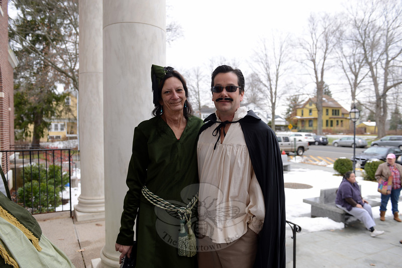 "Film buffs were invited to ""dress the part"" for the red carpet at the special screening of Gone With The Wind on November 30 at Edmond Town Hall. Laurie and Jim Borst dressed a characters from the film. (Bobowick photo)"