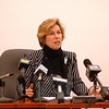 American Federation of Teachers President Randi Weingarten spoke during a media event at Newtown Municipal Center on Tuesday, December 2. (Hallabeck photo)