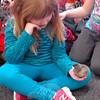 Hawley Elementary School kindergarten student Stella Kallman held a chick in her hand on Wednesday, November 19. (Hallabeck photo)