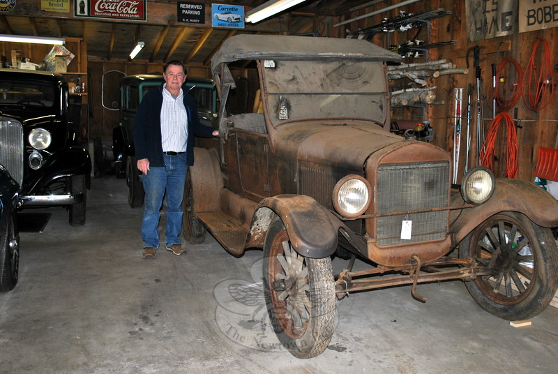 Rich Murdy stands next to the 1926 Ford Model T roadster pickup that he bid on and won at the recent Cherry Grove Farm auction. He hopes to have it running by summer. (Crevier photo)