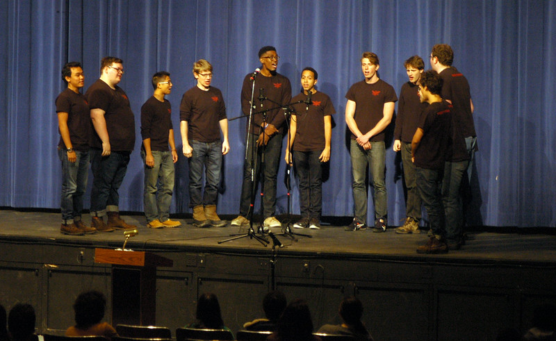 Members of Yale University's male a cappella group the Whiffenpoofs performed for Newtown High School students on Wednesday, February 4. (Hallabeck photo)