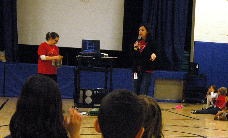 Middle Gate teachers Claire DeSisto, standing center right, and Lola Aldrich, led students in one of the two Community Circle assemblies held on Wednesday, February 4, which highlighted diversity and respect. (Hallabeck photo)