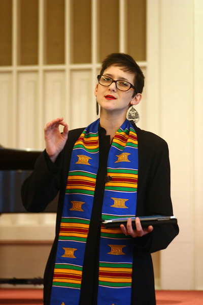 Reverend Caroline Hamilton-Arnold makes a point during her sermon, January 18. The new Transitional Associate Minister for Newtown Congregational Church, Rev Hamilton-Arnold has been in service at NCC since September. The Texas native arrived in Newtown in August.       (Hicks photo)