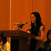 NHS graduate Lilia Hutchison spoke during the high school's reception for graduates on February 3. (Hallabeck photo)