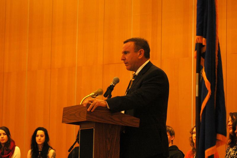 Superintendent of Schools Joseph V. Erardi, Jr, spoke during the high school's celebration of gradu-ates. (Hallabeck photo)