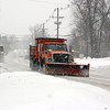 A pair of state snow plow trucks travel east on Church Hill Road, just east of its intersection with The Boulevard, during the snowstorm of February 9. (Hicks photo)