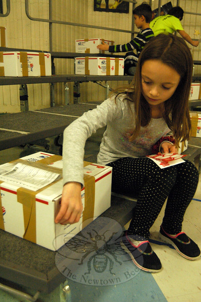 Sandy Hook School student Sarah Jojo put stickers on one of the boxes being sent through the local Valentines For Troops effort to an Army Infantry Division in Afghanistan. (Hallabeck photo)