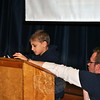 """Hawley third grade Danny Accomando reads from his kindness essay, Tuesday, December 23, saying that """"Kindness can be shared."""" Hawley students wrote about or did five acts of kindness each, during the month of December. A Kindness Assembly was held on December 23.  (Crevier photo)"""