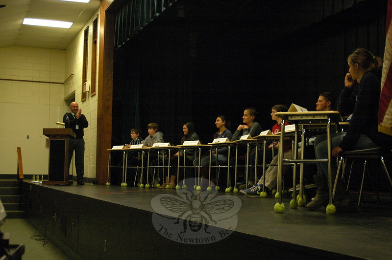 Newtown Middle School Principal Thomas Einhorn applauded all of the students who earned placement into his school's final competition of the National Geographic Bee. (Hallabeck  photo)