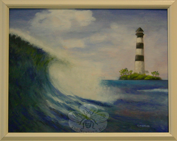 "This seascape by Marsha Stetler is one of a few works in ""Color in Winter"" that features a nautical subject. (Hicks photo)"