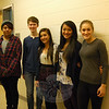 Newtown High School students who recently earned awards and honors from the 26th Annual Connecticut Regional Scholastic Art Awards Exhibit and Awards Ceremony stood together on Monday, January 26. From left are Mike Triantafilidis, Baxter Hankin, Sarah Braga, Emily Brinkmann, and Halle Wilson. Elliot Gregory was not present for the photo. (Hallabeck photo)