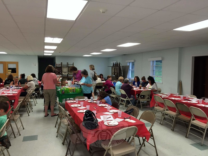 Early participants for June's painting party and celebration can be seen in this photo. The chapter generally holds painting parties on the third Wednesday of each month from 6:30 to 9 pm in the church hall of Newtown United Methodist Church, 92 Church Hill Road. (Cox photo)