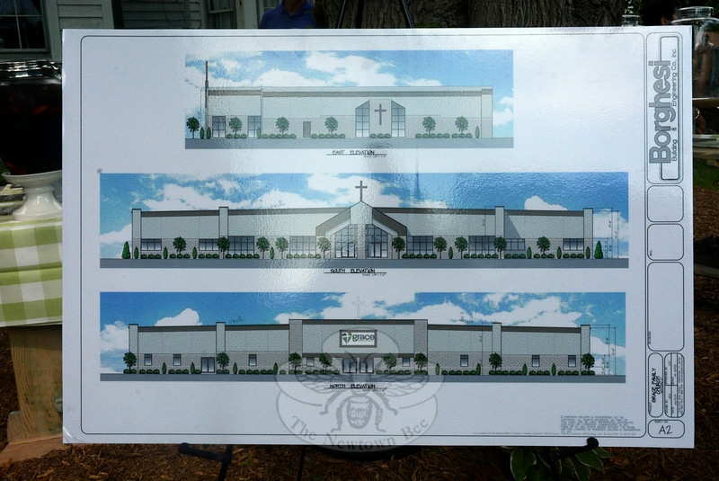 Elevation drawings prepared by the Borghesi Building & Engineering Company, Inc, which were on display at the church party, show plans for Grace Family Church's planned new church near the intersection of Covered Bridge Road and Hawleyville Road. (Gorosko photo)