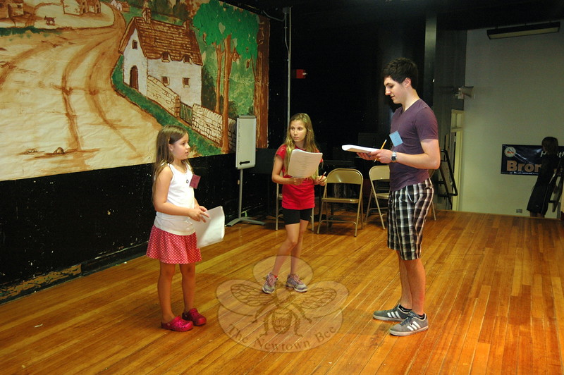 From left, SMART camp theater workshop students Meghan Bailey and Kristen Briggs worked under the guidance of instructor Sean Watkins during the first week of the program. (Fimmano photo)