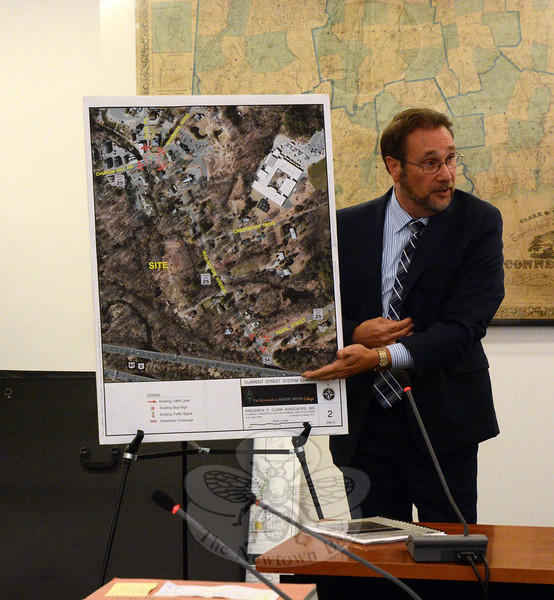 Traffic engineer Michael Galante, representing developer/builder Michael Burton, discusses the traffic aspects of the proposed River Walk at Sandy Hook Village condominium complex at a July 9 Planning and Zoning Commission (P&Z) public hearing. (Gorosko photo)