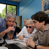 Dennis DeYoung, co-founder of the rock band Styx and original collaborator on The 101 Dalmatians Musical, is flanked by Newtown cast director Michael Unger, right, and musical director Jeff Saver. DeYoung was in Newtown on July 12 to hear a read through of a revised version of the show, which was adapted by Mr Unger for a children's cast. The new version's debut will be presented by The 12.14 Foundation as one of two musical productions at Newtown High School in early August. (Voket photo)