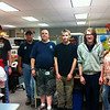 Students in this year's Summer Youth Employment Program working with the custodial crew at Newtown High School stood with Jack Vichiola, supervisor for the summer program for both town employees and the Summer Youth Employment Program, second from left, and Bobby Hein, third from left, on their first day of work. Students photographed from left are Liam Day, James Brown, Thomas Warner-Crouch, and Sophia Elhag. (Hallabeck photo)