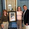From left is Laura E. Lerman, chairman of Newtown Cultural Arts Commission (NCAC); NCAC member and Sunday Cinema Series Coordinator Jennifer Rogers, and James O. Gaston, whose law offices helped sponsor the July 19 screenings of Casablanca. (Cox photo)