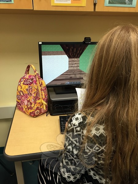 "Natalie Despagna worked on her ""hide-and-seek"" project in Minecraft on Wednesday, July 8. (Cox photo)"