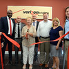 Town and Chamber of Commerce officials joined staff and management of the new Verizon Wireless center that recently opened at Sand Hill Plaza on South Main Street. Among those attending the ribbon cutting are Economic Development Commissioner Matthew Mihalcik, Verizon Regional Manager Tamar Bundy, store Manager Chris Faett, First Selectman Pat Llodra, Verizon staffer Chris Severo, and chamber representatives Angelo Renia Marini and Bryan Roth.  (Voket photo)