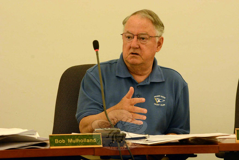Planning and Zoning Commission (P&Z) Chairman Robert Mulholland makes a point at the July 17 P&Z public hearing on Summit Properties Group's plans for The Summit at Newtown at 146 South Main Street.   (Gorosko photo)