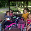Pictured on Friday, June 19, at the Parks & Recreation day camp at Dickinson Memorial Park are Breezy Shep, front left, Keeley Green, back left, Dorothy Letts, right front, and camp counselor Lauren Granville, back right. (Gallagher photo)