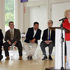 About 150 people attended a testimonial on Sunday, June 28, for Mae Schmidle, standing at right, and Julia Wasserman. Seated, from left, are Monsignor Robert E. Weiss, pastor of St Rose of Lima Church; Rabbi Shaul Praver; State Senator Tony Hwang, and State Representative Arthur O'Neill. (Gorosko photo)
