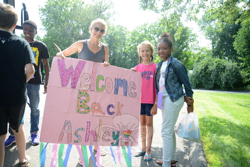 Ashley Waterman, right, arrived in Newtown, ready for her fourth visit with Heather Peck and her daughter Anna, 10. Anna hopes to go swimming, while her mother has additional activities planned for the family's guest.  (Bee Photo, Bobowick)