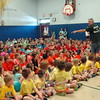 Hawley Elementary School held its Field Day on Friday, May 29. At the start of the event, Hawley Principal Christopher Moretti readied the students for the annual Field Day in the school's gymnasium. (Hallabeck photo)
