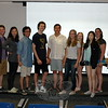 This semester's Newtown High School Junior/Senior Project students stood together Tuesday, May 26, before practicing for their final presentations, which were made on June 1 and June 2. From left are Dawson Goodrich, Mimi Hawke, Brandon Qiao, Sean MacMullan, Chris Lafky, Astrid Sundberg, Laura Sullivan, Gemma Hyeon, Amanda Walsh, and Lydia Field. (Hallabeck photo)