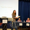 Hawley School PTA President Kristen Bonacci was one of many members of the school community to express concern and opposition to a proposal to close Hawley School in response to declining school enrollment in Newtown's school district. (Bobowick photo)