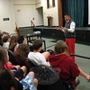 Republican state Senator Tony Hwang visited with Newtown Middle School students in the 8 Red cluster on Friday, June 5. During the visit, the senator answered questions the students had prepared in advance after learning about the senator's background. (Hallabeck photo)