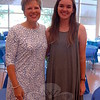 Former Middle Gate Elementary School teacher Ellen Therrien, left, stood with her former student Brenna Kelly at the Newtown High School Scholars Luncheon, held in the school's cafetorium on Friday, June 12. (Hallabeck photo)