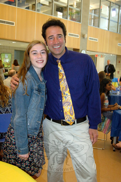 Newtown High School's Jeff Tolson stood with NHS 2015 graduate and valedictorian Sarah Lynch at the Newtown High School Scholars Luncheon, held in the school's cafetorium on Friday, June 12. (Hallabeck photo)