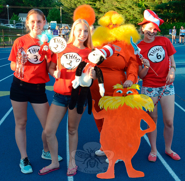 A number of Relay for Life participants took on the Dr Seuss theme for the Saturday, June 13 event. From Anna Pickney, Sara Lampel, and Maddie Aug stood with Terry Clarke Murphy — The Lorax.	(Voket photo)