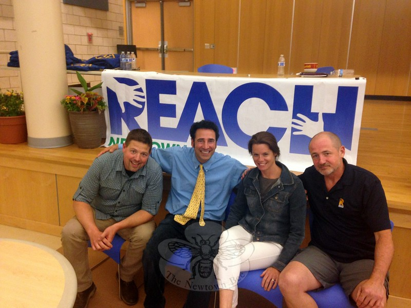 "REACH Program Coordinators, from left, Adam Carley, Jeff Tolson, Lindsay Carley, and Charles ""Cap"" Pryor sat together on Thursday, June 4.	(Gallagher photo)"
